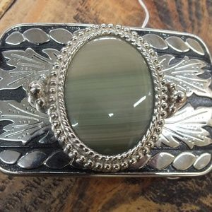 Large Western Style Belt Buckle with Grey Stone